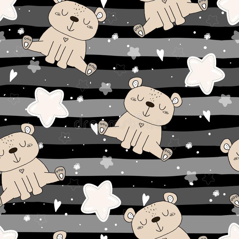 Cute seamless pattern with funny teddy bear. vector illustration stock illustration