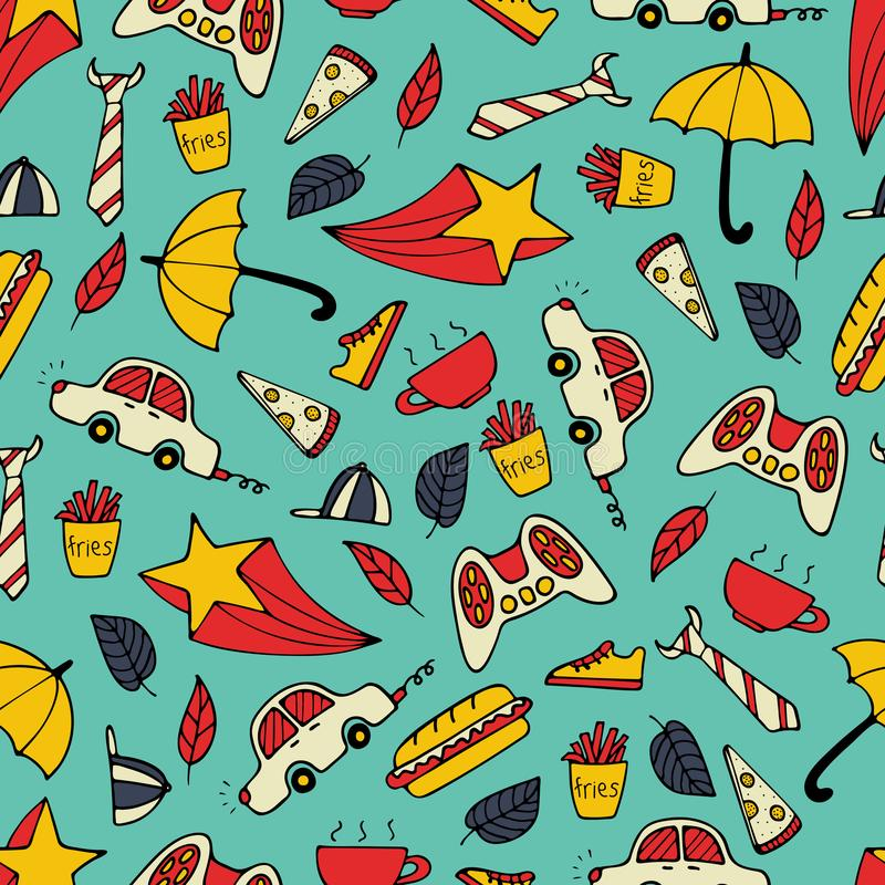 Cute seamless pattern with hand-drawn men illustrations royalty free illustration