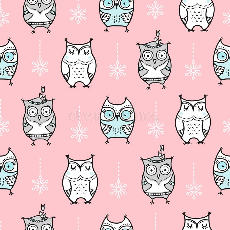 Cute seamless pattern with hand drawn owls. The pattern can be repeated without any visible seams vector illustration