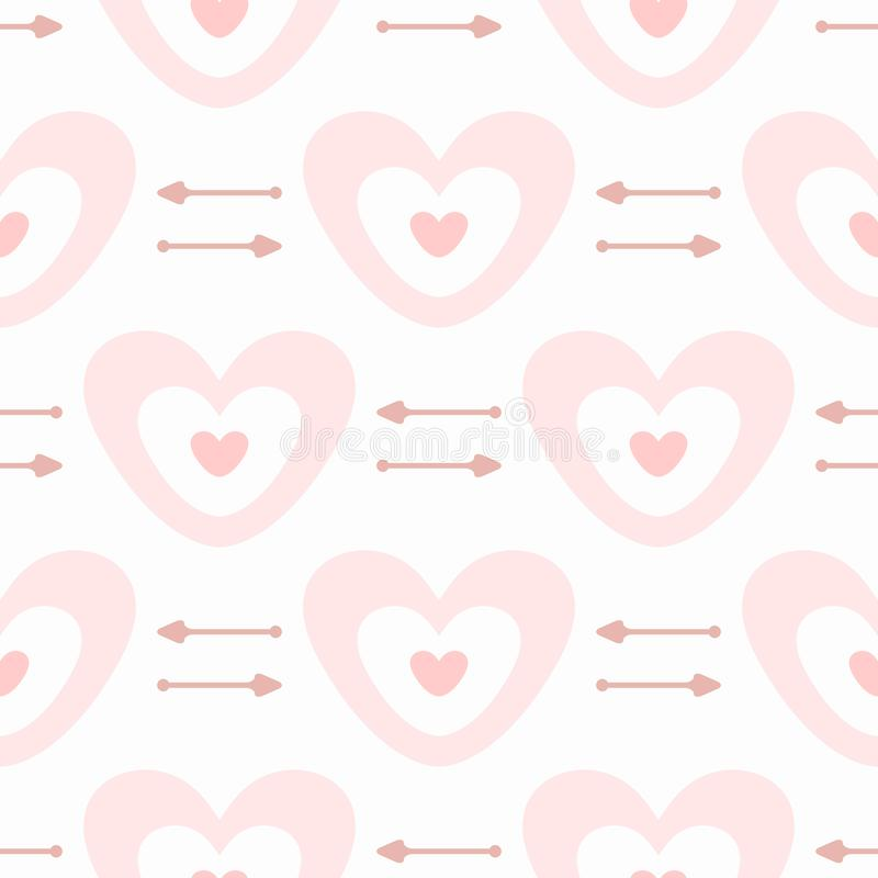 Cute seamless pattern with hearts and arrows. Romantic print. Girly vector illustration vector illustration