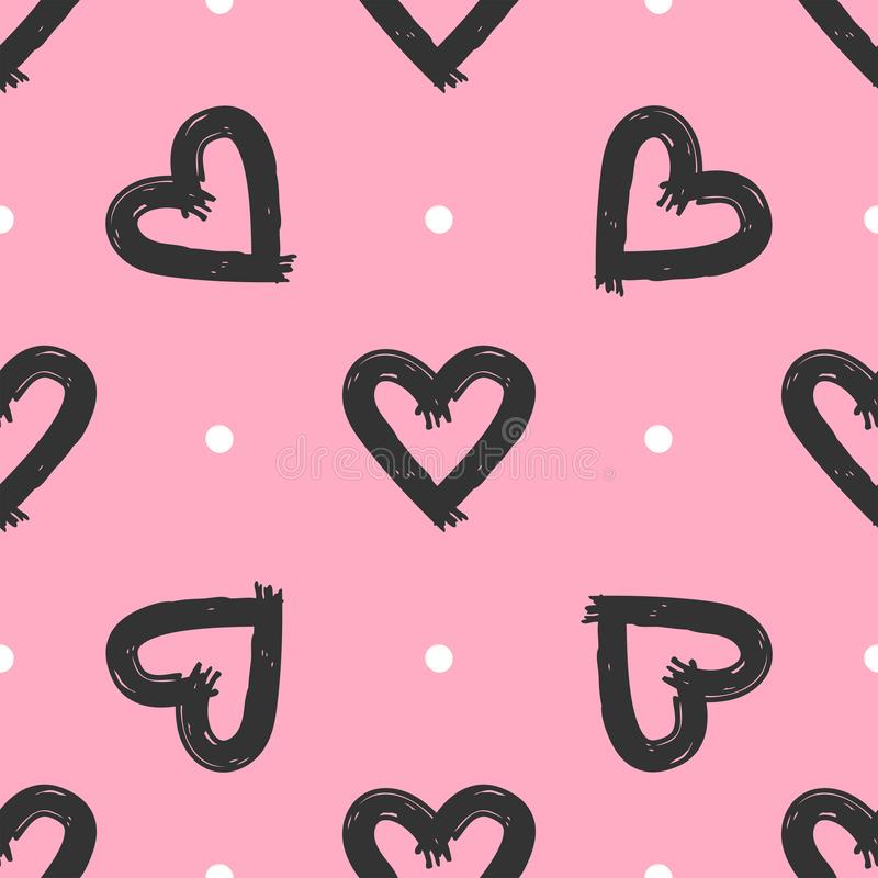 Cute seamless pattern with hearts and dots draw by hand. Sketch, graffiti, grunge. Vector illustration stock illustration
