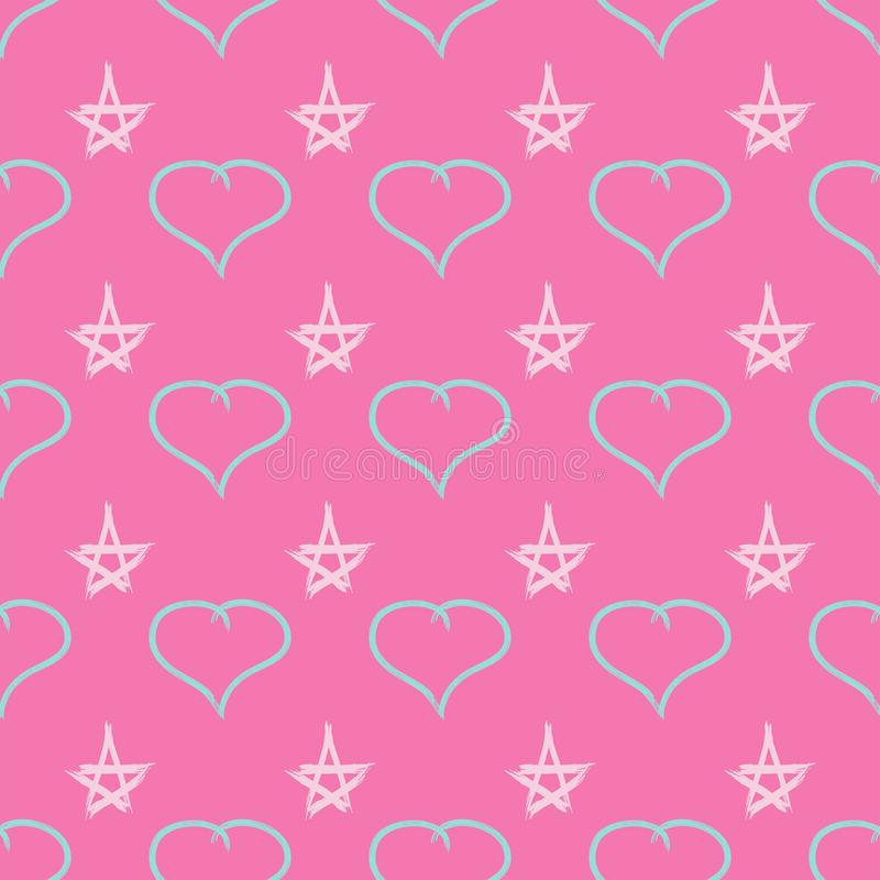 Cute seamless pattern with hearts and stars drawn by watercolour brush. Sketch, graffiti, paint. Vector illustration. vector illustration