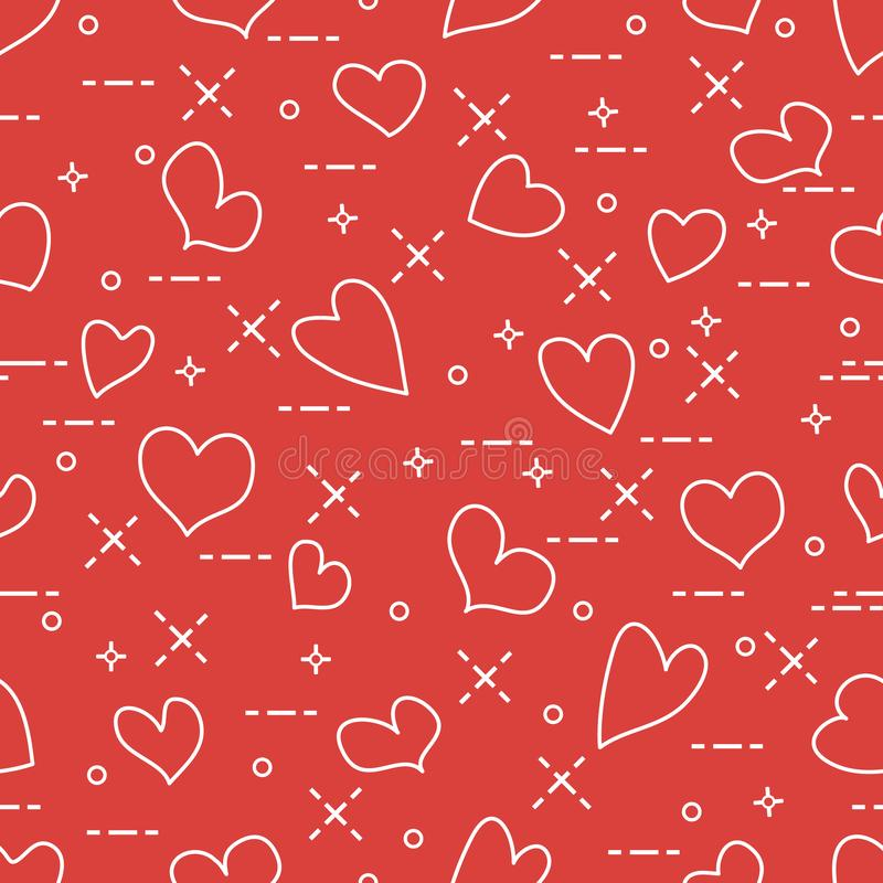 Cute seamless pattern with hearts. Template for design, fabric, print. Valentine`s day royalty free illustration