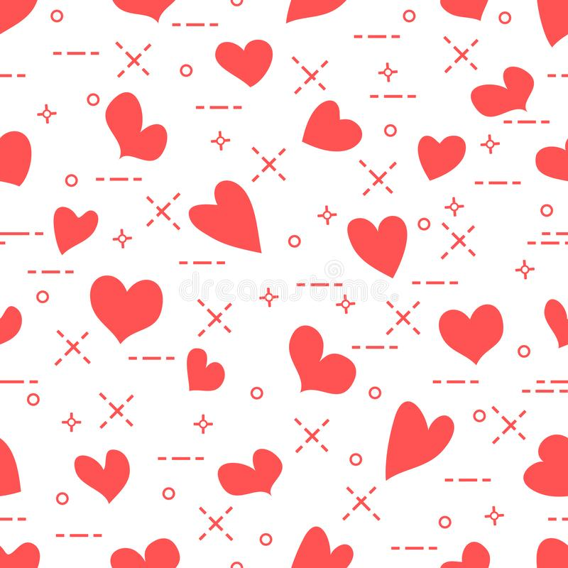 Cute seamless pattern with hearts. Template for design, fabric, print. Valentine`s day stock illustration