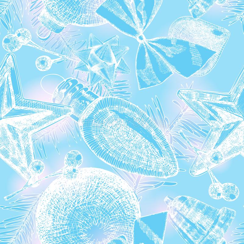 Cute seamless pattern with holiday elements on blue background f stock illustration