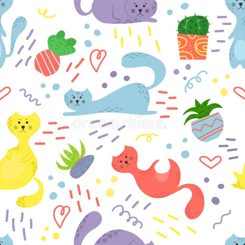 Cute seamless pattern with house plants, cats and doodles. Flowers in a pots. Hygge home. Vector background design royalty free illustration