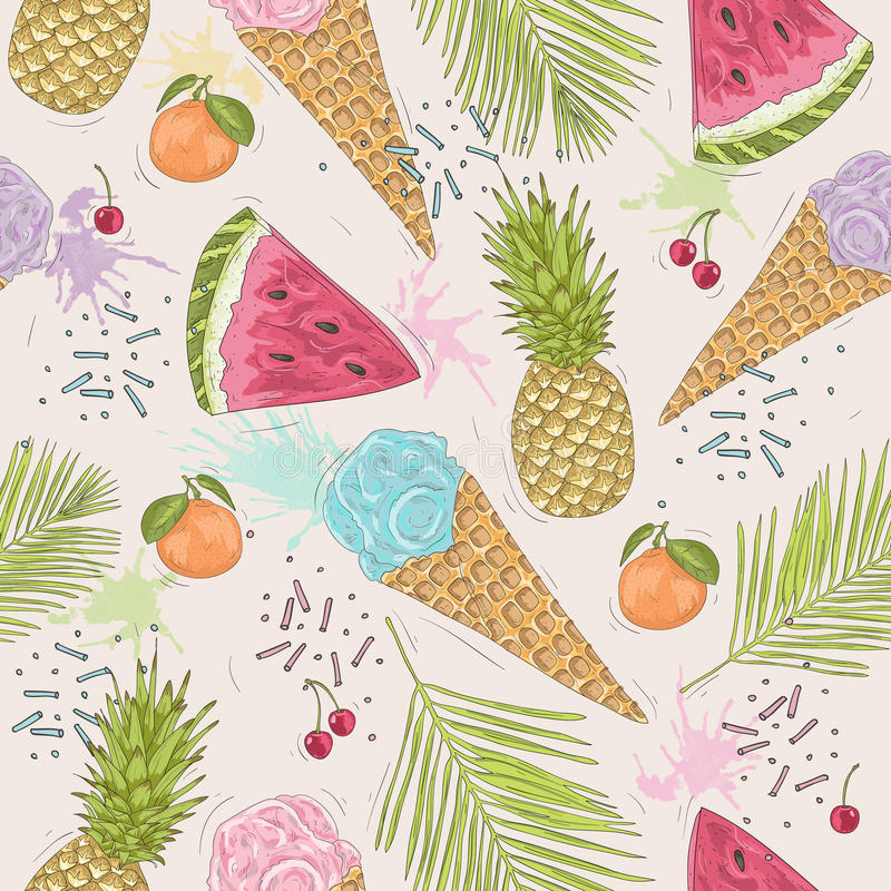 Cute seamless pattern with ice creams, pineapples. stock illustration