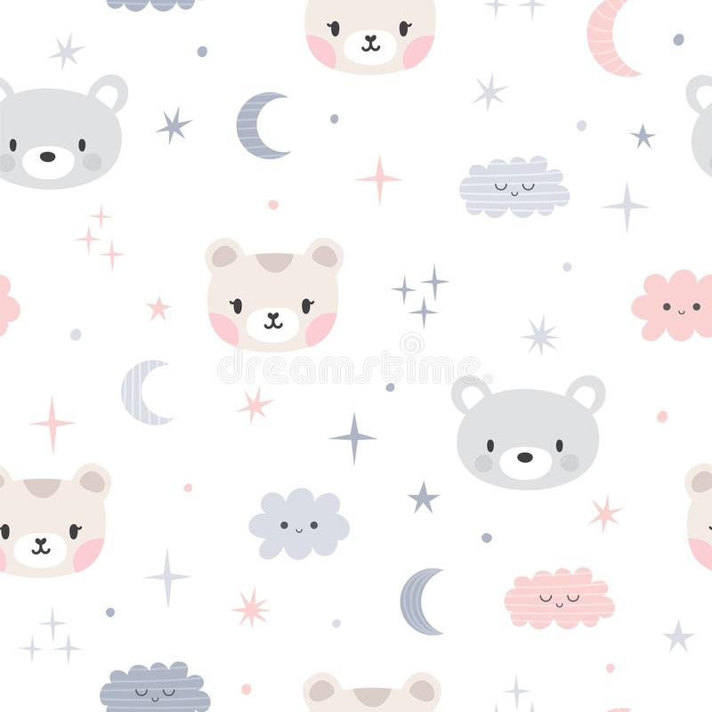 Cute seamless pattern for kids with cartoon little bears. Children background with moon, stars and clouds. Lovely animals stock illustration