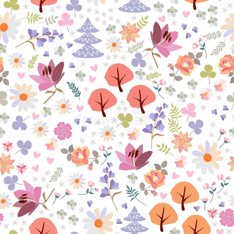 Cute seamless pattern of magic forest with trees and flowers.  royalty free illustration
