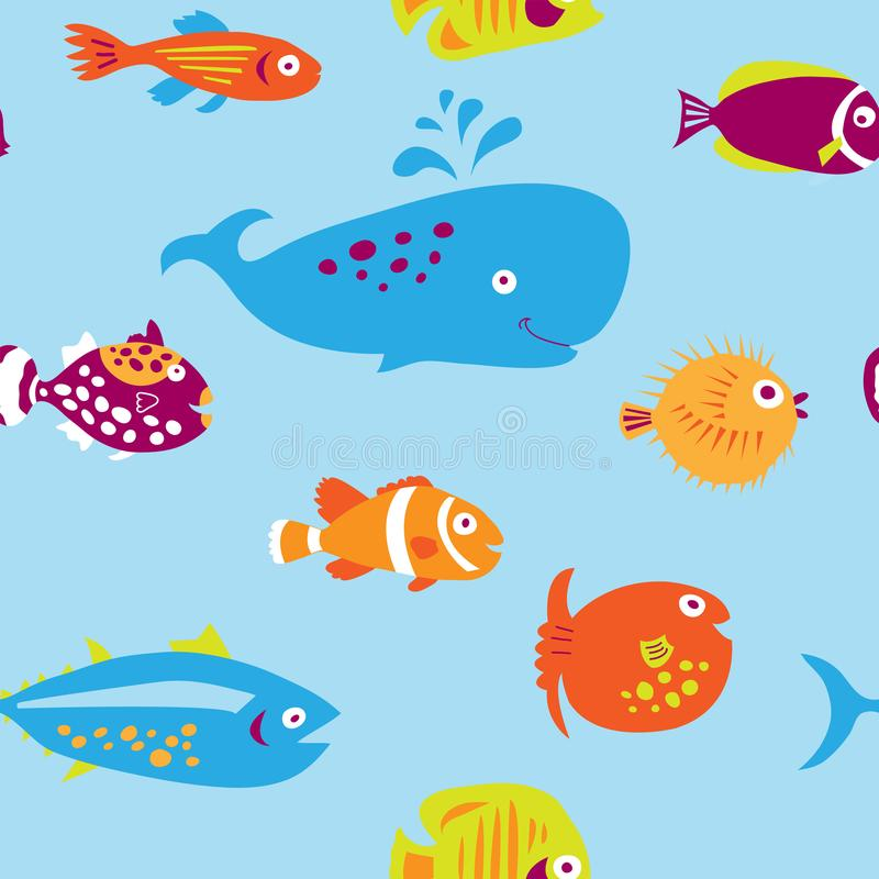 Cute seamless pattern with multi-colored cartoon fishes stock illustration