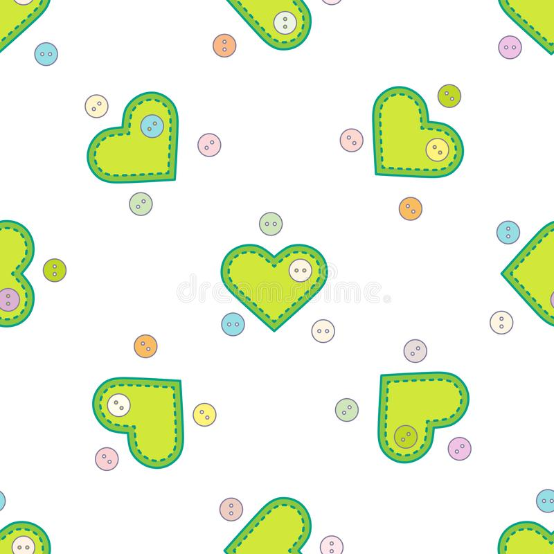 Cute seamless pattern with needle cases in shape of hearts and buttons.Template for design, fabric, print. Valentine`s day royalty free illustration