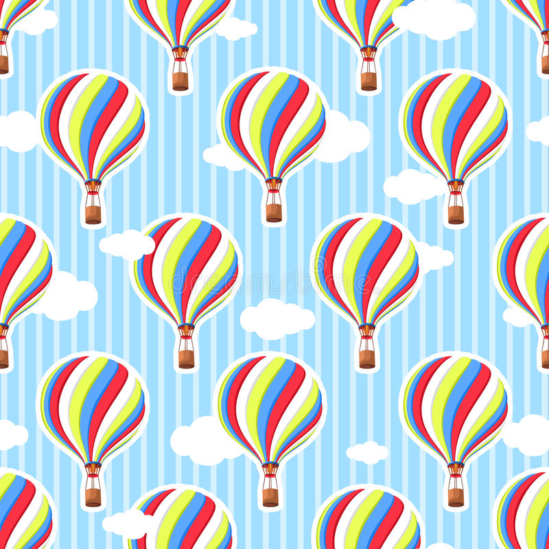 Cute seamless pattern in the nursery. Hot air balloon, clouds. Seamless background. The pattern in pastel colors. royalty free stock photos
