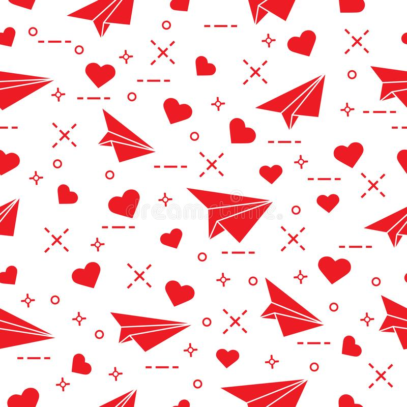 Cute seamless pattern with paper airplane and hearts. Template for design, fabric, print. Valentine`s Day vector illustration