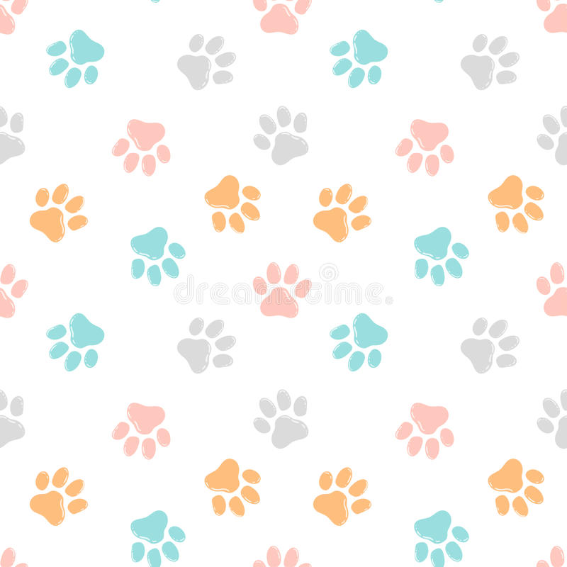 Cute seamless pattern with paw prints. Animal background. royalty free illustration