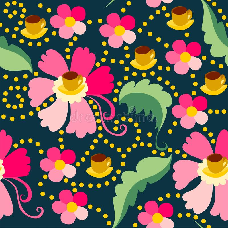 Cute seamless pattern of pink flowers stock illustration