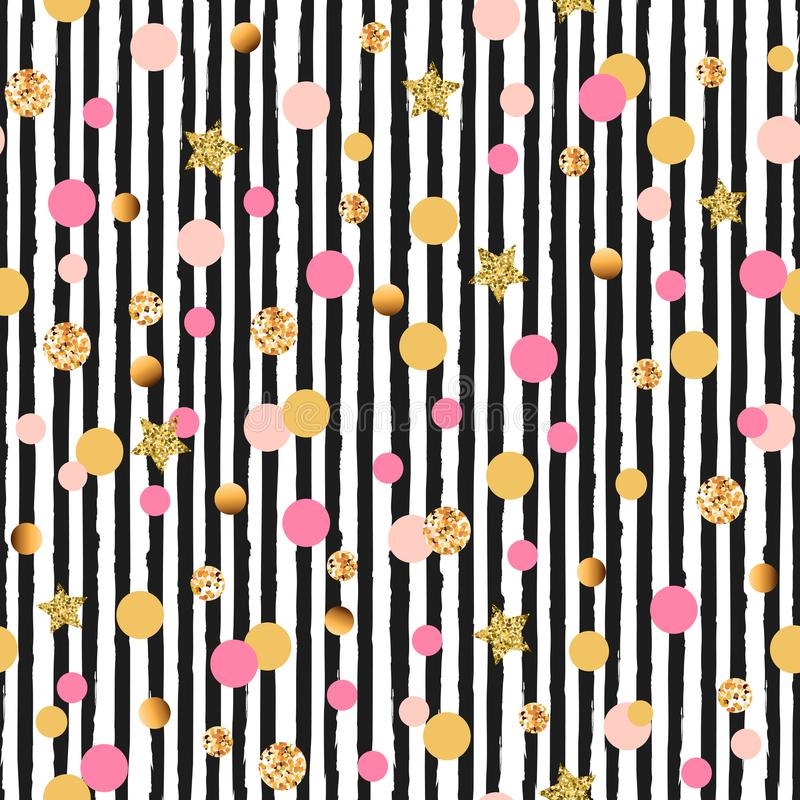 Cute seamless pattern with pink and golden circles and stars, black and white stripes. Glamorous background for Christmas, New Year, Birthday, fashion store stock illustration