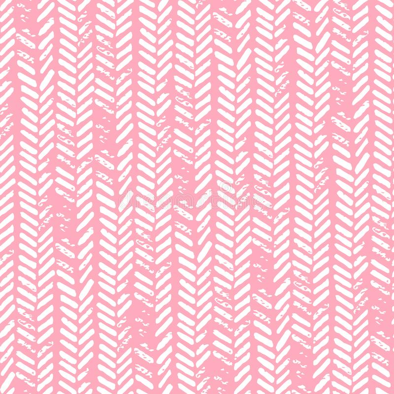 Cute seamless pattern. Pink and white colors. Grunge texture. Kn royalty free illustration