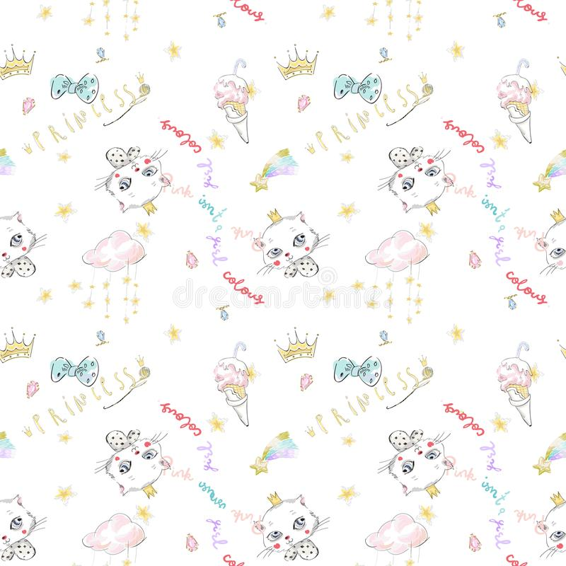 Cute seamless pattern with princess cat, crowns and ice cream. royalty free illustration