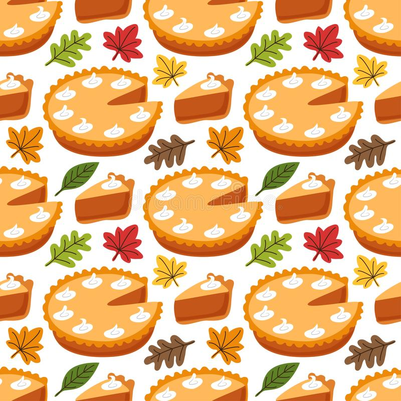 Cute Seamless Pattern with Pumpkin Pie and autumn leaves royalty free illustration