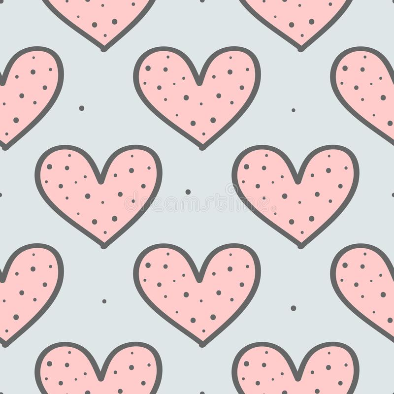 Cute seamless pattern with repeating hearts and round dots. Drawn by hand, sketch, doodle. stock illustration