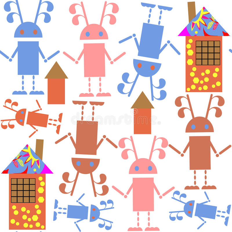 Cute seamless pattern with robots and houses and seamless patter royalty free illustration