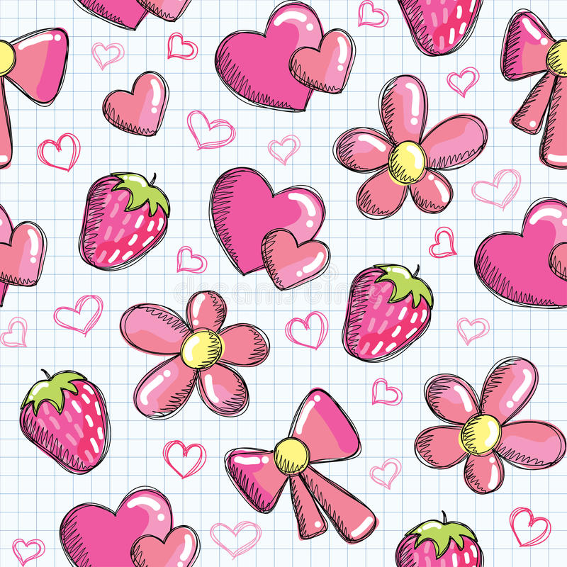 Cute seamless pattern with romantic elements