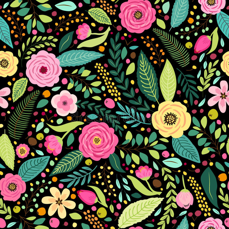 Cute seamless pattern with rustic hand drawn first spring flowers royalty free illustration