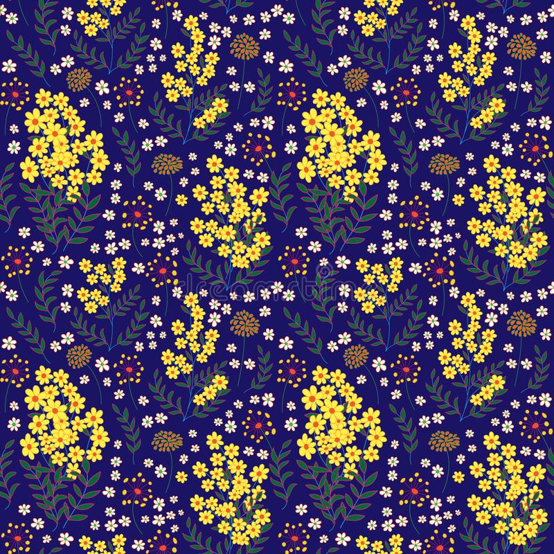 Cute seamless pattern in small flower. Small yellow and white flowers. Dark blue background. Ditsy floral style. Fashion stock illustration