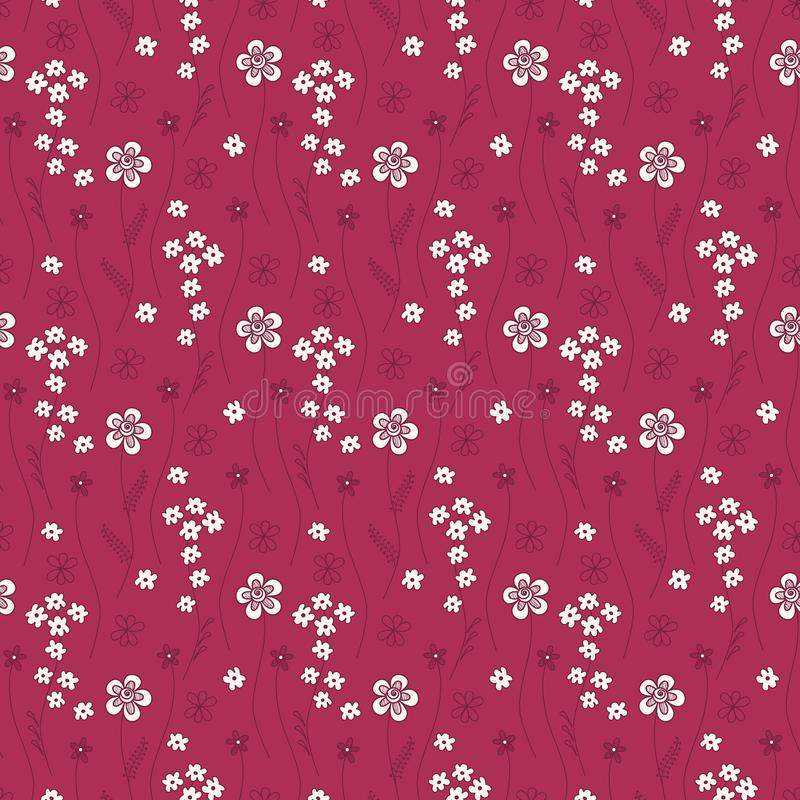 Cute seamless pattern with small flowers on a red background royalty free illustration