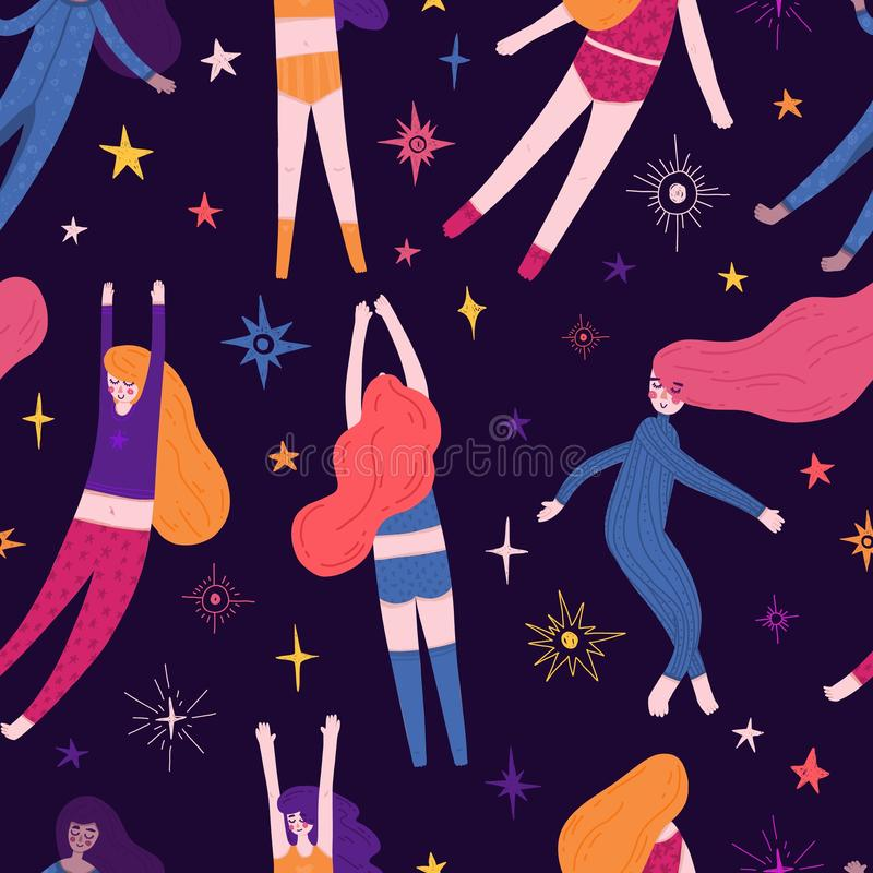 Cute Seamless pattern with space elements and pretty girl in pajamas. Cartoon style wallpaper with sleeping fly girl and royalty free illustration