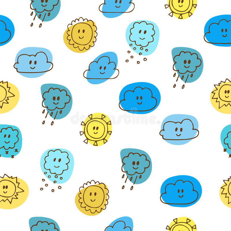 Cute seamless pattern with sun and clouds vector illustration