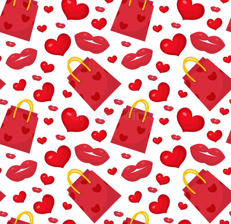 Cute seamless pattern Valentines day with gift bag, heart, kiss, lips. royalty free illustration