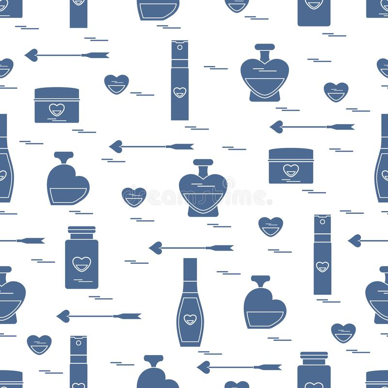 Cute seamless pattern with various accessories for the care of your body and hair: perfume bottles, cream, hair spray and other. royalty free illustration