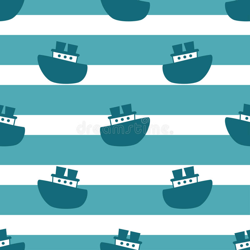 Free Cute Seamless Pattern With Blue Boats Royalty Free Stock Images - 88051689