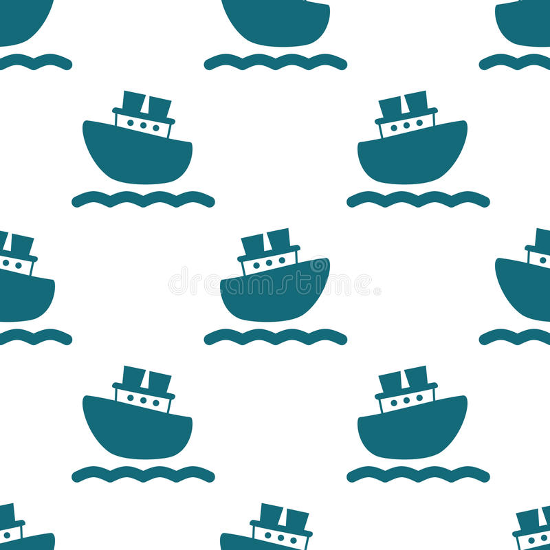 Free Cute Seamless Pattern With Blue Boats And Waves. Stock Photography - 88051722