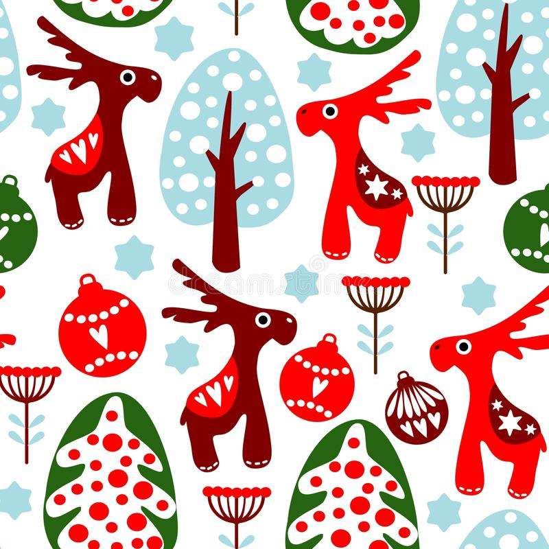 Free Cute Seamless Pattern With Christmas Balls, Reind Royalty Free Stock Photography - 33847997