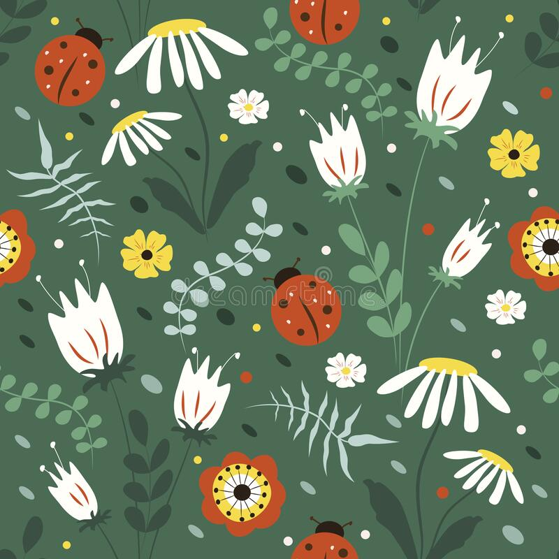Free Cute Seamless Pattern With Hand Drawn Flowers, Herbs And Ladybirds In Green Tones Stock Photo - 218382240