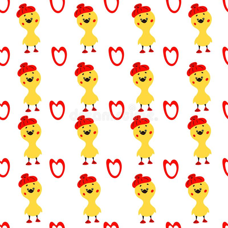 Cute seamless pattern with yellow rubber duck and heart on white background. Duck toy baby shower illustration vector illustration