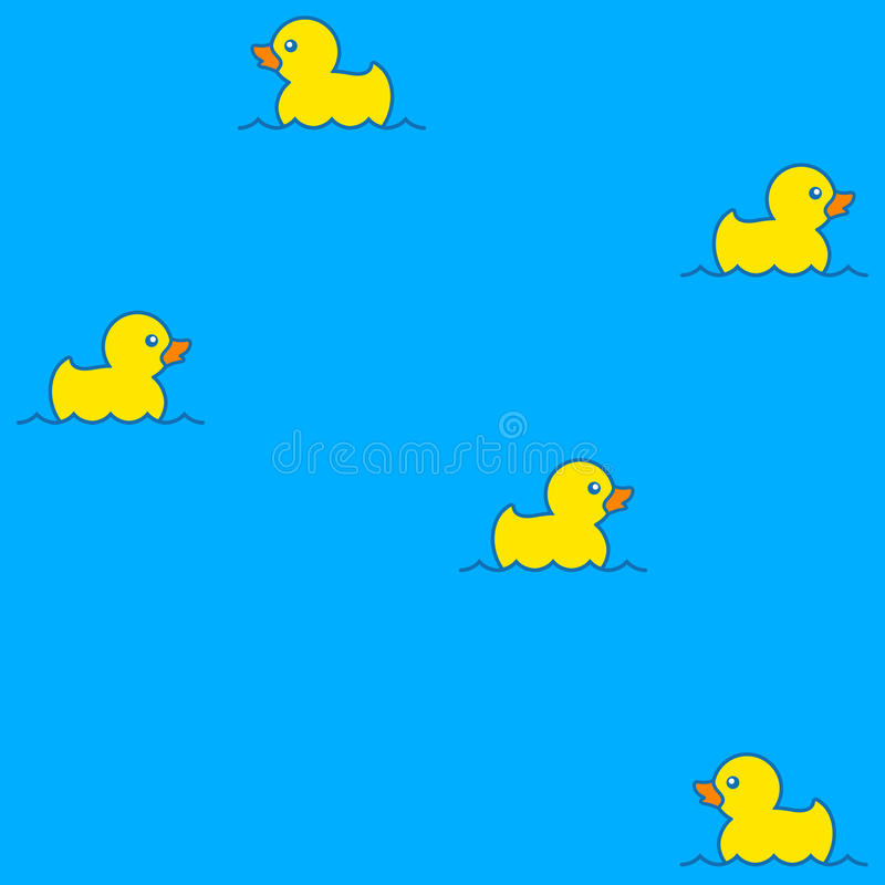 Cute seamless pattern with yellow rubber ducks on water vector illustration