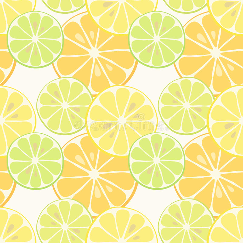 Cute seamless patterns of citrus fruits lemon and lime with simple textures of friendly colors. For your decoration stock illustration