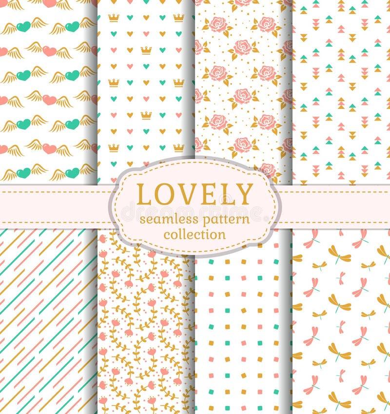 Cute seamless patterns. Vector set. royalty free illustration