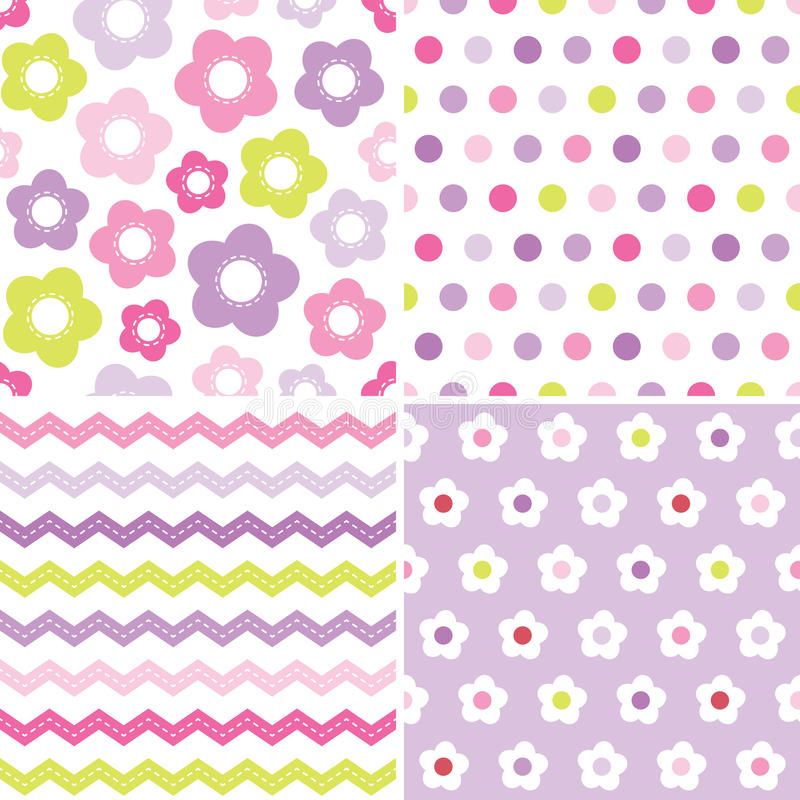 Cute seamless pink and purple background patterns stock vector set of seamless retro spring background patterns in pink and purple for baby mothers day easter gift wrapping paper negle Image collections