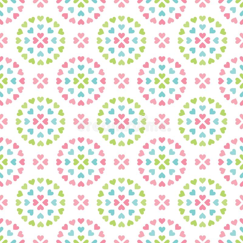 Cute seamless retro pastel heart background circles royalty free illustration