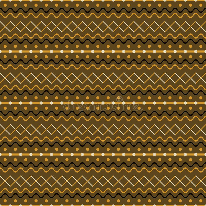 Cute seamless rustic pattern of cross zigzag, waves, dots, strip. Seamless geometric pattern of cross zigzag, waves, dots, stripes. Brown and orange colors. Cute stock illustration