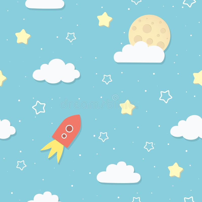 Cute seamless sky pattern with full moon, clouds, stars, and rocket. Cartoon space rocket flying to the Moon. stock illustration