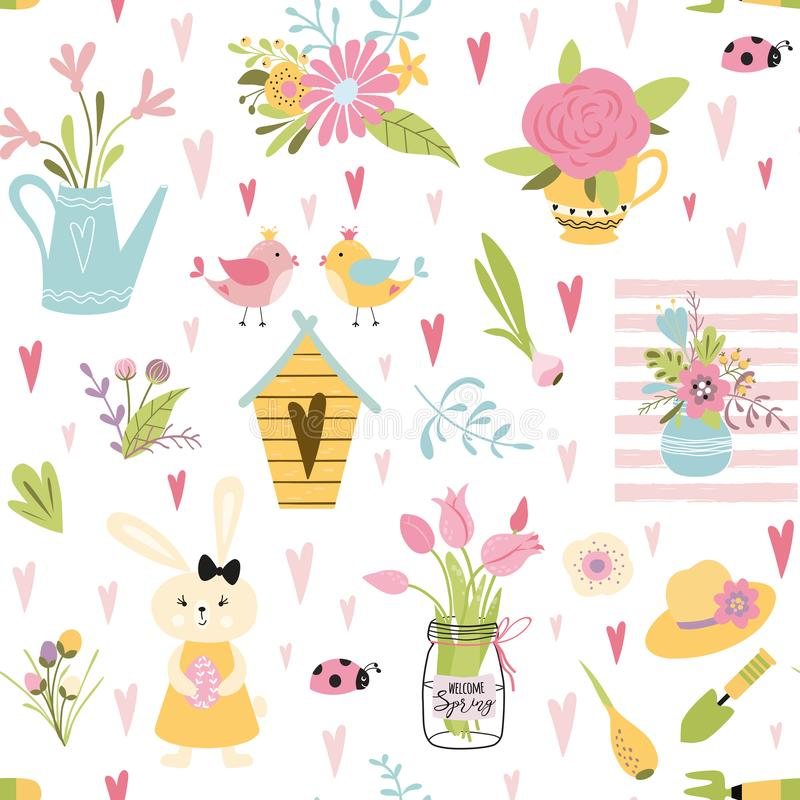 Cute seamless spring floral bouquet pattern Birds family rabbit Light baby design vector royalty free illustration