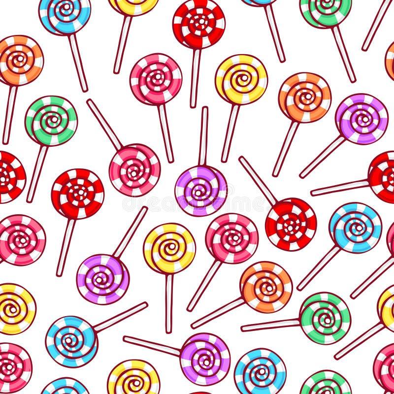 Cute seamless striped lollipops royalty free illustration