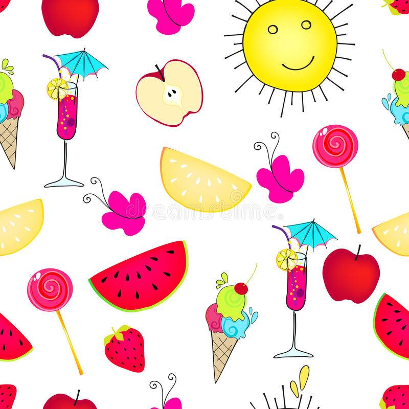 Cute Seamless Summer Background Royalty Free Stock Photography