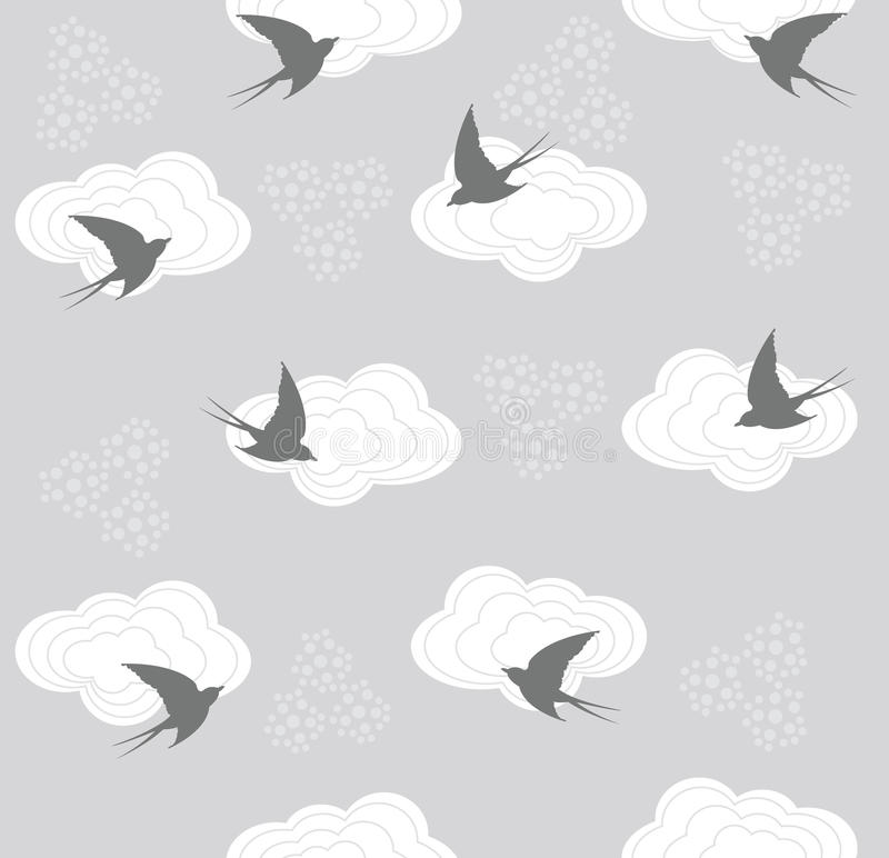 Download Cute Seamless Swallow And Cloud Pattern Stock Vector - Illustration: 18738478