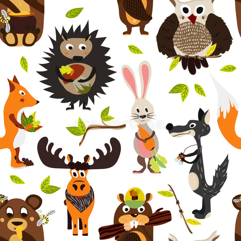Cute seamless texture wild forest animal design on a white background. Cartoon style. Vector. Illustration vector illustration